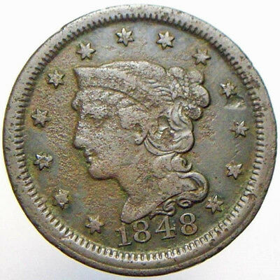 1848 1c Braided Hair Large Cent Old US Nicer Details Collectible Coin