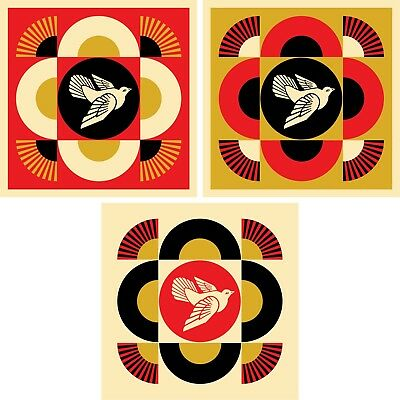 Dove Geometric Print Set by Shepard Fairey Obey Giant - Signed & Numbered