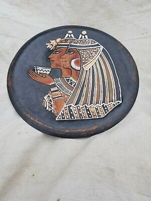 Vintage Copper Etched Egyptian Theme Wall Art Plate