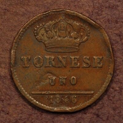Italy - Naples & Sicily Tornese 1846 Copper ChVF