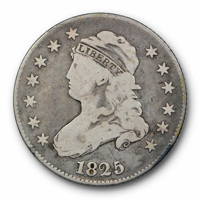 1825 Quarter Capped Bust Very Good to Fine Original Large Size 25c #3954