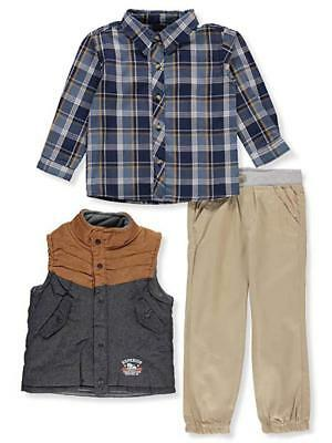Little Rebels Toddler Boys Chambray Vest 3pc Twill Jogger Set Size 2T 3T 4T