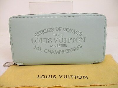 Auth LOUIS VUITTON Leather Light Blue Zippy Wallet Portefeuille Jena  6251 8f4893a9e10