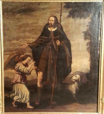 """ANTIQUE BAROQUE OIL PAINTING ON CANVAS WITH FRAME """"S. ROCCO"""" 1600-1700 circa"""