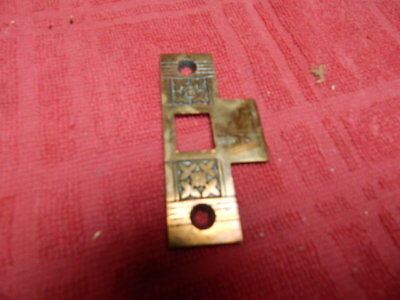 Antique Cast Brass Victorian Eastlake Door Mortise Lock Strike Plate