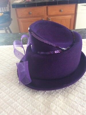 vintage Purple Evening Hat  100% Wool Made In Usa