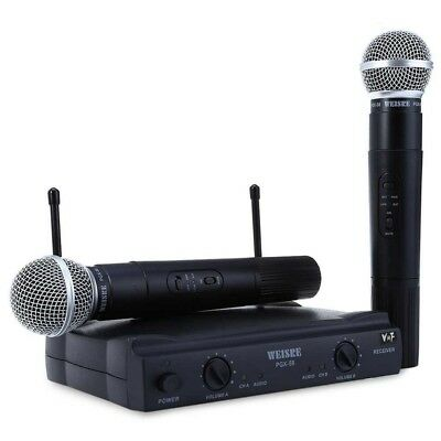 Weisre PGX-58 UHF Wireless Dual Channel Handheld Karaoke Microphone System - New