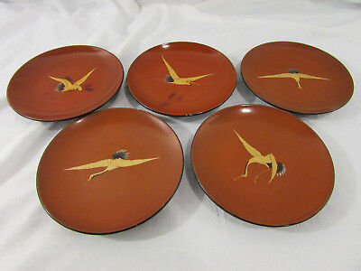 Lot of 5 Vintage Wooden Japanese Lacquered Plates Red and Black Crane Bird Image