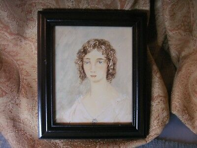 Old Antique Watercolour Miniature Painting Portrait of a Lady Victorian Framed