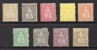 SWITZERLAND MNH 1862 VALUES INCLUDES 1 F. Gold