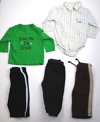 Lot of 5 Toddler Boys Clothes 3 Pants 1 Shirt 1 One Piece Size 12 Month