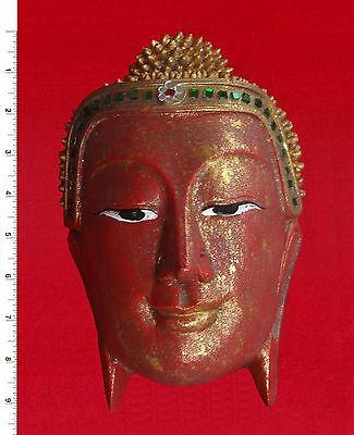 Thai Buddha Face Image - Red/Gold     Carved Wooden Sculpture