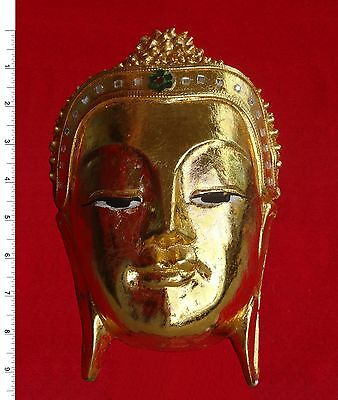 Thai Buddha Face Image  -  Gold Leafed       Carved Wooden Sculpture