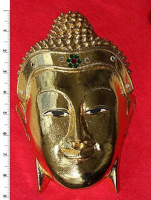 Thai Buddha Face Image - Gold Leaf     Carved Wooden Sculpture     BH011