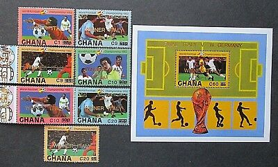 Ghana 1984 World Cup Set & MS Overprinted 'Italy Winners 3-1 & Surcharged. MNH.