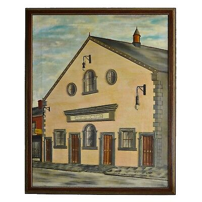 Early 20th Century 'Lyceum' Architectural Realist Signed Oil on Canvas Painting