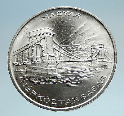 1956 HUNGARY with Szechenyi Bridge Budapest Genuine Silver 20 Forint Coin i74951