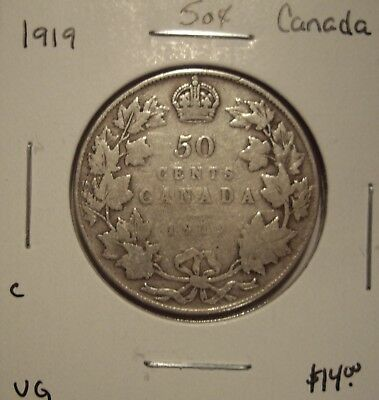 C Canada George V 1919 Silver Fifty Cents - VG