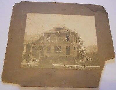 Vintage 1914 Cabinet Photograph of 2 Carpenters Building a Home Unknown Location
