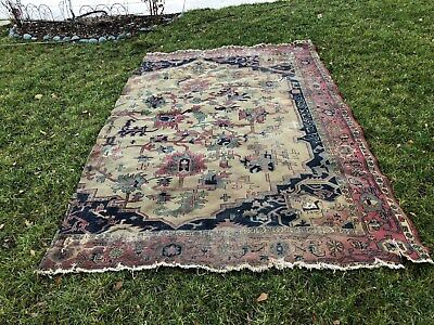 Shabbic Chic Antique Serapi Rug Tapestry With Inscriptions
