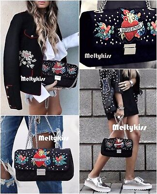 Nwt Zara Black Quilted Embroidered Cross-Body Bag With Patches Bloggers!
