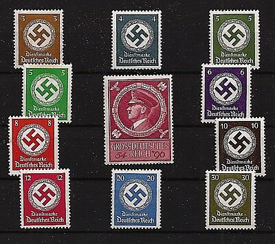 Nazi Germany Postage Third 3rd Reich 1944 Hitler + Swastika stamps WW2 MNH