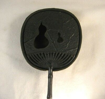 Antique Japanese Cast Iron Hibachi Brazier Hand Warmer Fan Uchiwa Hyotan