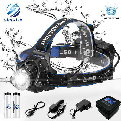 Rechargeable Head light T6 LED Tactical Headlamp Zoomable+Charger+18650+Battery