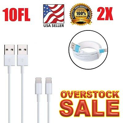 2x 10Ft USB Cable Charger 3M FOR Apple oem Lightning iPhone 7 8 6 5 X
