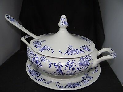 old Diamond Stone Laveno soup tureen,ladle and 11'' under plate,chip on ladle