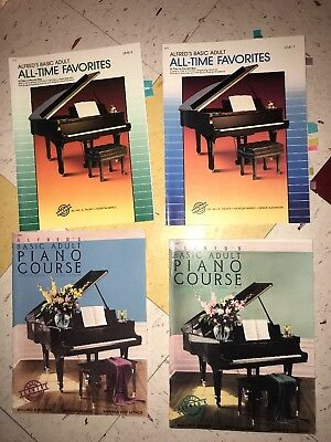 4 Alfred's Basic Adult Piano Music Books Lesson 2 & 3 All Time Favorites 1 & 2