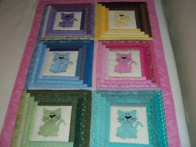 New Handmade Baby Girl Quilt Crib Blanket Kittens Cats  Appliqued Pink Patchwork