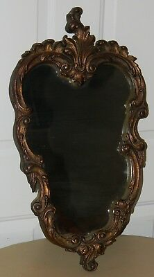 Vtg Antique Original Fancy Ornate French Provincial Wall Hanging Mirror 25 X 13