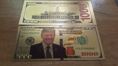 Donald Trump 24k Gold Foil $1000 Bill. For Collectors Only, No Cash Value!!