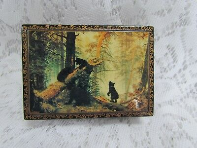 Vintage Russian Small Lacquer Box with Black Bears