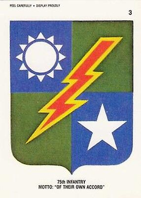 """Desert Storm Trading Card Sticker 75th Infantry Motto: """"Of Their Own Accord"""""""