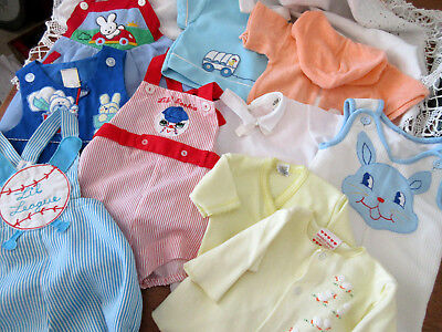 LOT VINTAGE BABY BOY or REBORN DOLL CLOTHES ROMPERS TOPS SUNSUITS 0 3 6 9 mo ??