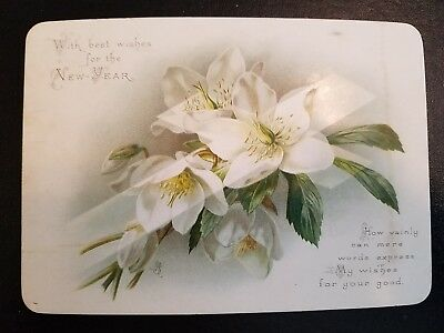 Old New Year Card With Verse & White Blossoms on a Cross