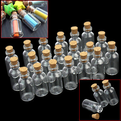 10/20pcs Small Mini Cork Stopper Glass Bottles Vials Jars Craft Supply EXU