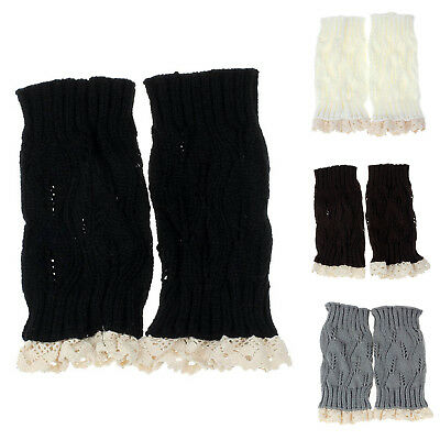 Women Lady Warm Lace Trim Crochet Knitted Boot Cuffs Toppers Leg Socks (gra