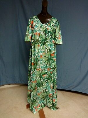 Vintage Sears 100% Cotton Hawaiian MuuMuu Dress Size Large