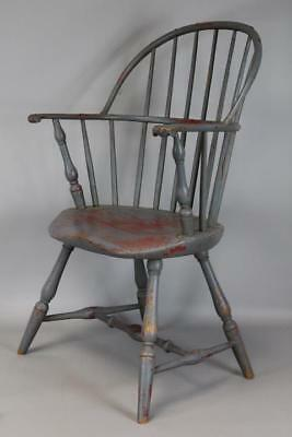 Rare 18Th C Ct Sackback Windsor Armchair  Bold Knuckle Hands Old Paint History