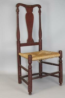 One Of A Pair 18Th C Ct Queen Anne Side Chair In Fantastic Old Red Paint #1
