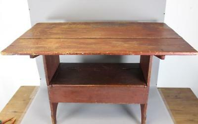 An Early 19Th C Lift Top Chair Table In Old Red Paint Cut Out Ends Lift Top Seat