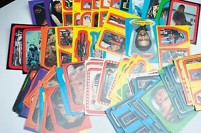 Huge Lot of 78 Vintage 1977 Topps Star Wars Trading Card Stickers