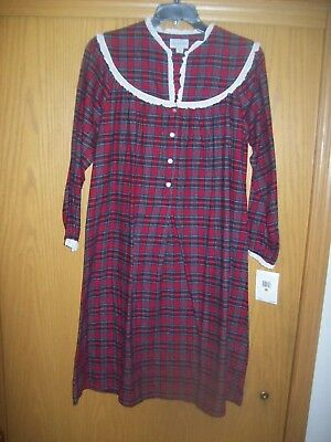 Womens Lanz Of Salzburg Red Plaid Lace Cotton Flannel Nightgown