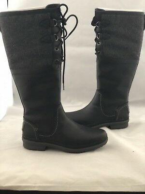 ce6d6886caf UGG ELSA BLACK Tall Waterproof Leather Rain Snow Boots Size 5 Us Womens