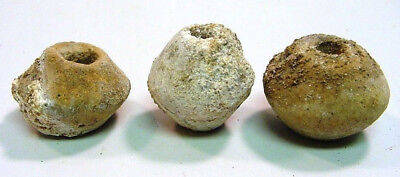 AUTHENTIC III-IV A.D.Roman/Celtic Lot 3 Weights Beads Red Clay