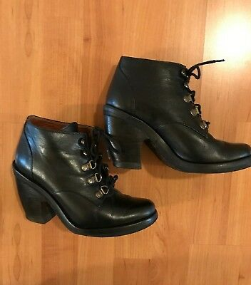 60ce0f538ddcd RACHEL COMEY ANTHROPOLOGIE Lace up Ankle Boot Bootie Black Leather - 6 M