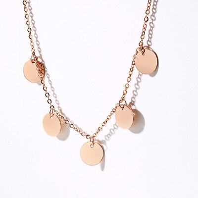Rose Gold Sequin Coin Clavicle Women Necklace Chain Choker Valentine's Day Gift